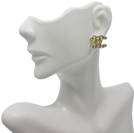 Chanel Gold-tone Chanel clear resin CC stud earrings