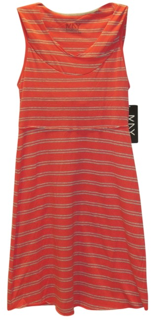Item - Coral with Gray Stripes New York Coral/Gray Performance Hooded Racerback Above Knee Short Casual Dress Size 2 (XS)