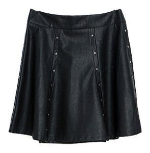 Zara Faux Leather Studded Mini Skirt Black