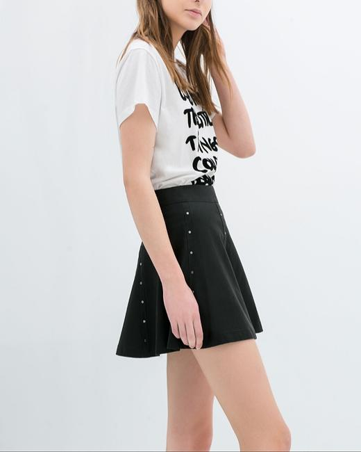 Zara Faux Leather Studded Night Out Date Night Mini Skirt Black