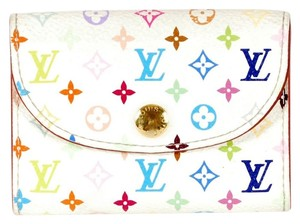 Louis Vuitton Authentic Louis Vuitton Multicolore Monogram White Business Card Case with Natural Interior
