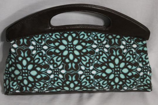 New York & Company Brown, Teal, White Clutch