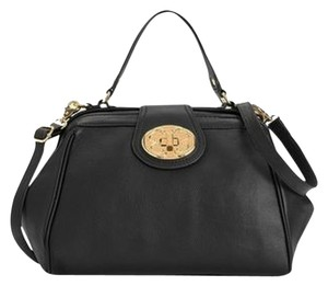 Emma Fox Crossbody Large Turnlock Satchel in Black