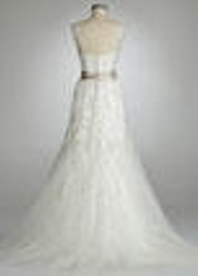 David's Bridal Ivory Lace Cap Sleeve Beaded Mermaid Gown -style 123325 Feminine Wedding Dress Size 12 (L)