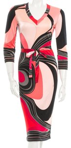 Emilio Pucci Pink Multicolor Longsleeve Print Belted Silk Stretchy V-neck 6 40 S Red Black Dress