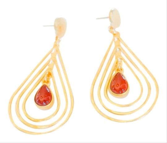 Other Triple Carnelian Teardrop Handcrafted Earring