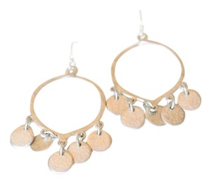 SILVER HAMMERED HOOP EARRINGS WITH HANGING DISC