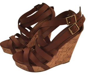 Wedge Cork Leather Cognac brown Wedges