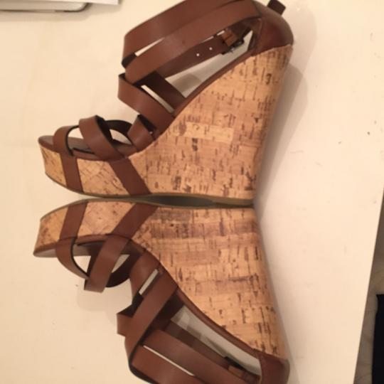 Other Cork Leather Cognac brown Wedges