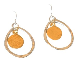 Other GOLD & MIXED METAL HAMMERED DISC IN BASKET EARRINGS