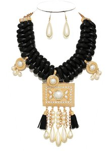 Tribal Ethnic Boho Chic Statement Black Braided Leather Pearl Drops Crystal Accent Necklace and Earring