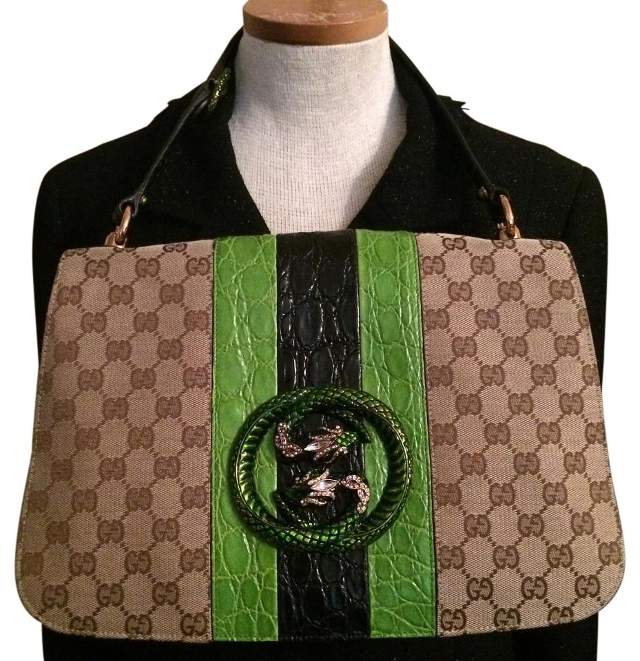 b8e4a8a2498 Gucci   Alligator Web Serpent Tom Ford Era Brown Green Black Canvas ...