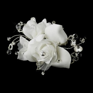 Rhinestone & Crystal Bead Flower Bridal Hair Clip - White