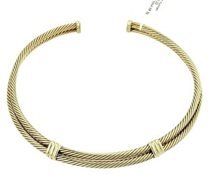 David Yurman 15112-David Yurman 14k Yellow Gold Classic Double Cable Wire Choker Necklace