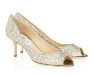 Jimmy Choo Isabel Champagne Silver Glitter Peep Toe Pump Wedding Shoes