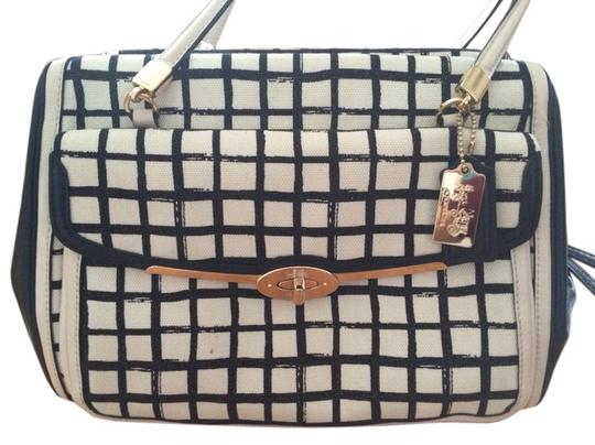 Preload https://item2.tradesy.com/images/coach-black-and-white-cotton-leather-satchel-5627971-0-0.jpg?width=440&height=440