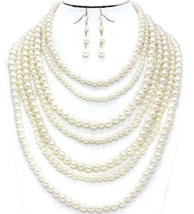 MultiStrand Pearl Necklace and Earrings