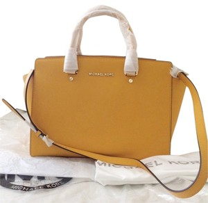 Michael by Michael Kors Mk Topzip Designer Leather Yellow Gold Luxury Satchel in Sun