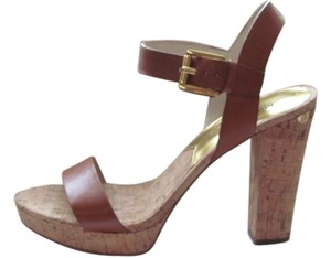 Michael Kors Wedge Cork Buckles Heels Brown Sandals