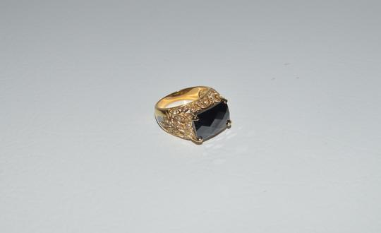 Technibond Technibond Faceted Black Onyx Color Gemstone Ring Size 8