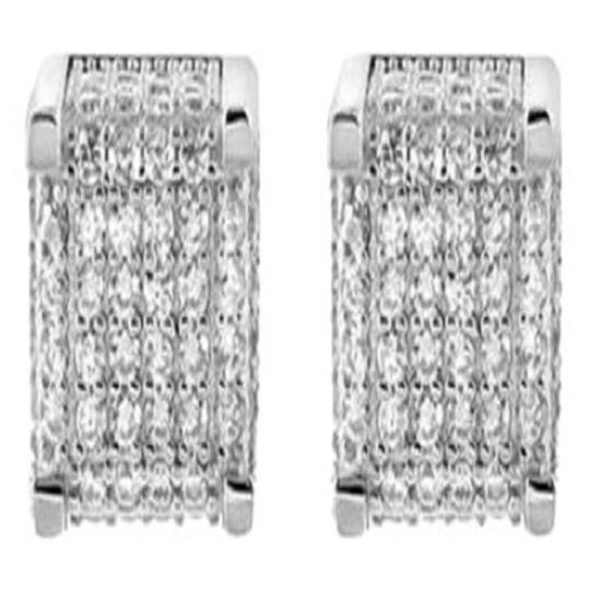 Other 925 Silver Studs Earrings Mens Ladies White Gold Finish Square Cube Lab Diamond