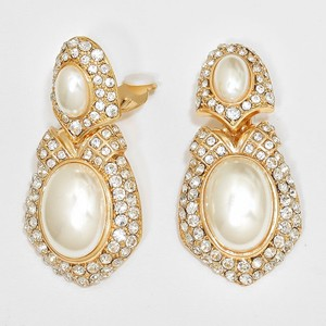 Rhinestone Crystal Clip On Pearl Earrings