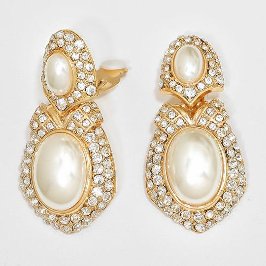 Gold Cream Clear Rhinestone Crystal Clip On Pearl Earrings