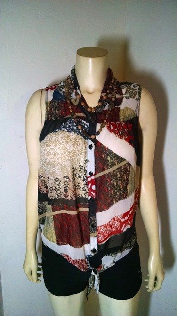 Takara Size Large Sleeveless P1676 Button Down Shirt black, red, white ,blue, beige
