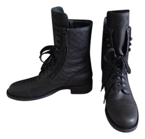 Chanel Low Heel Combat BLACK Boots