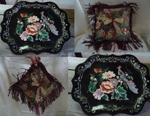Vintage Peacock Tray & Tapestry Ring Pillow