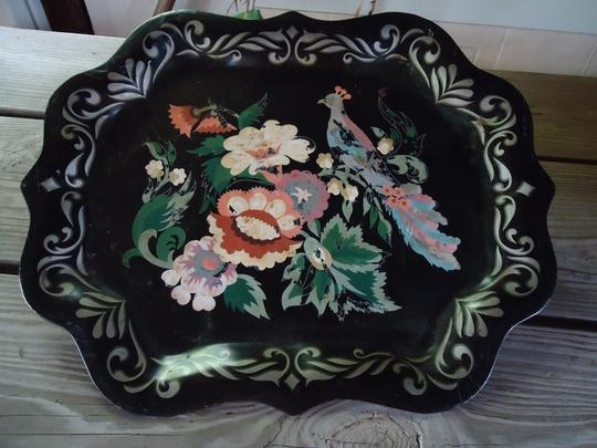 Black Multi Vintage Peacock Tray & Tapestry Ring Pillow Ceremony Decoration