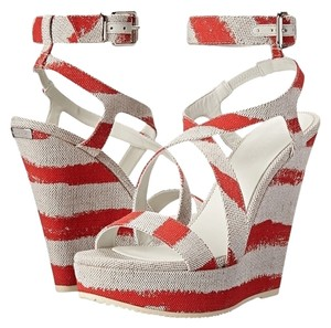 Burberry Farrah Coral Sandal Shoe Heel Red Sandals