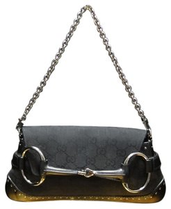 Gucci Classic Canvas Lether Studded Chain Black Clutch