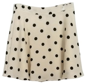 Forever 21 Skirt White With Black Polka Dots