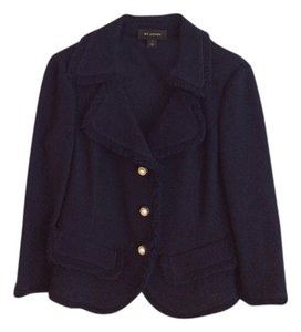St. John St. John 3/4 sleeve navy jacket with fringe trim and classic lapels. matching skirt