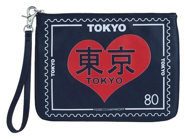 Item - Clutch New *collector's Item* Tokyo Travel Pouch Navy Blue Red and White Leather Wristlet