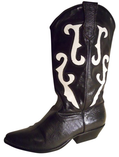 Nine West Western Leather black & white Boots