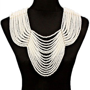 MultiStrands Pearl Beads Gold Chain Draped Bib Necklace Backdrop Chain