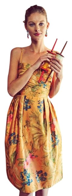 Item - Yellow Pink and Blue Floral Anthropologie Botanica Knee Length Cocktail Dress Size 0 (XS)
