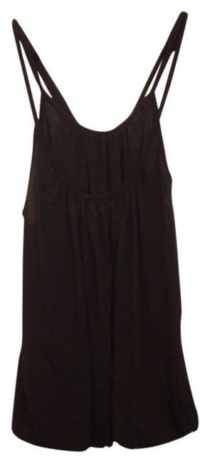 French Connection Jersey Tunic Blouse Double Straps Double Layer Bubble Hem Top Black