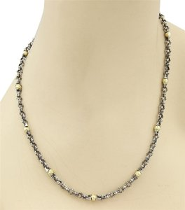David Yurman 14903 - David Yurman Blackended Sterling & 18K Gold balls Fancy Link Chain Necklace -22