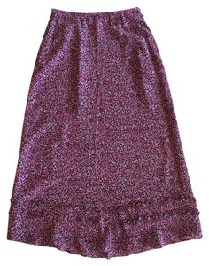 Liz Claiborne Floral Long Maxi Silk Ruffle Maxi Skirt pink, black, grey, and white
