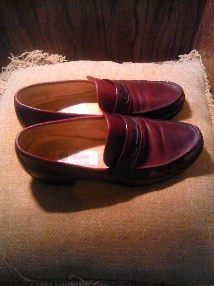 df8bb8393b7 Gucci Burgundy Men s Leather Vintage Slip On Loafers Flats Size US ...