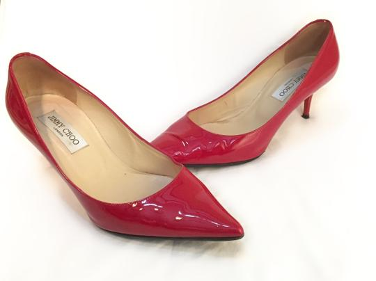 Jimmy Choo Pointed Toe Patent Leather red Pumps
