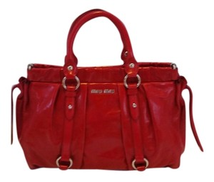 Miu Miu Bauletto Leather Crinkled Tote in Red