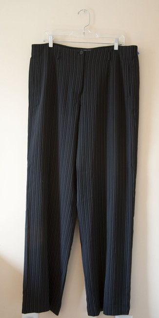 Jones New York Pinstripes Wide Leg Pants Black