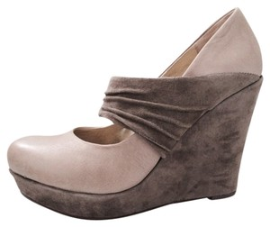 Seychelles Platform Gray leather and velvet Wedges