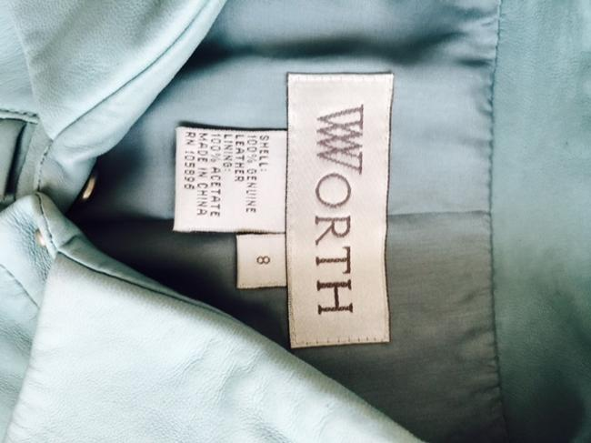 Worth Still On Hanger With Tissue Darted In Front And Back For A Better Fit Snap Closure (See Photos For Detailing On Front Blue Star Leather Jacket