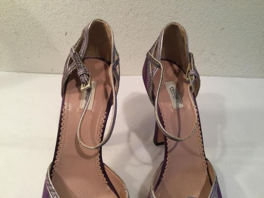 Prada Made Italy Purple fabric embossed leather border leather lining and soles Italian E37.5 Sandals