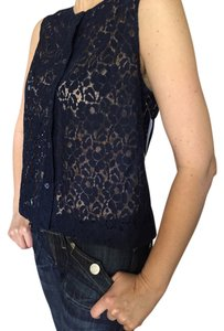 Equipment Crop Button Down Shirt navy cotton lace